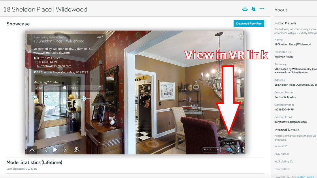 VR Link inside the 3D Tour